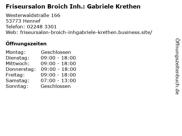 Friseursalon Broich in Hennef: Adresse und Öffnungszeiten