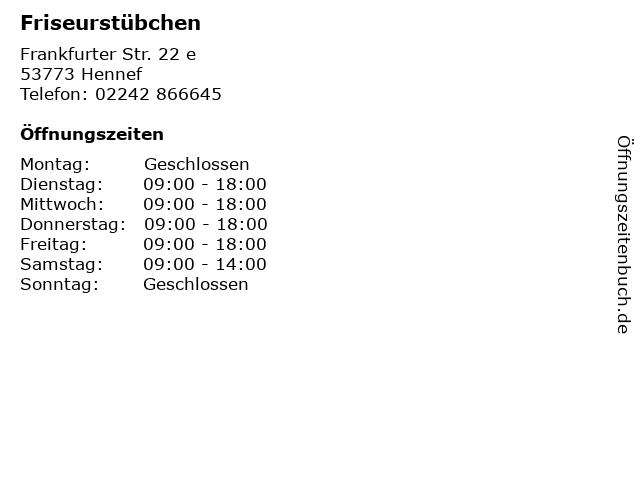 Friseurstübchen in Hennef: Adresse und Öffnungszeiten