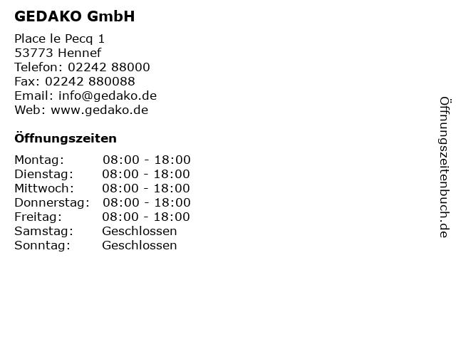 GEDAKO GmbH in Hennef: Adresse und Öffnungszeiten