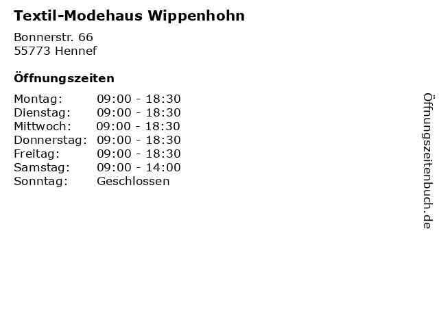 Textil-Modehaus Wippenhohn in Hennef: Adresse und Öffnungszeiten