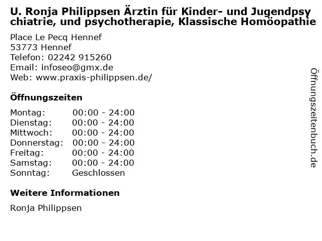 U. Ronja Philippsen Ärztin für Kinder- und Jugendpsychiatrie, und psychotherapie, Klassische Homöopathie in Hennef: Adresse und Öffnungszeiten
