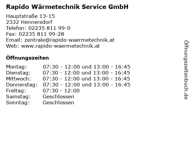 Rapido Wärmetechnik Service GmbH in Hennersdorf: Adresse und Öffnungszeiten