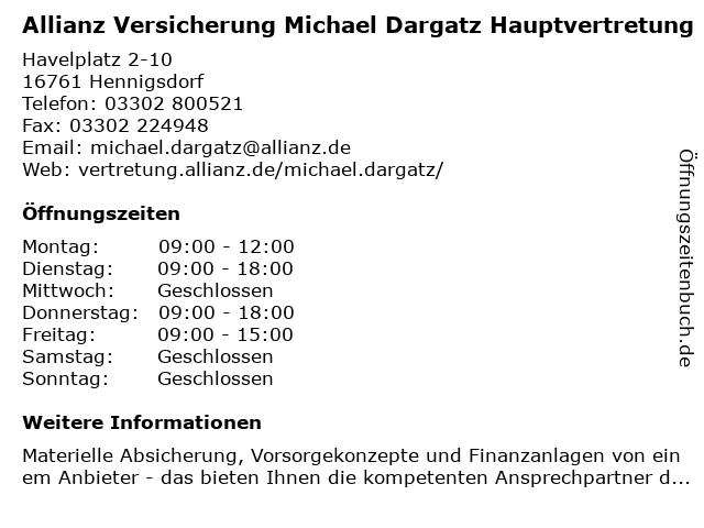 Allianz Versicherung Michael Dargatz in Hennigsdorf: Adresse und Öffnungszeiten