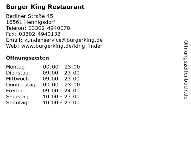 Burger King Restaurant in Hennigsdorf: Adresse und Öffnungszeiten