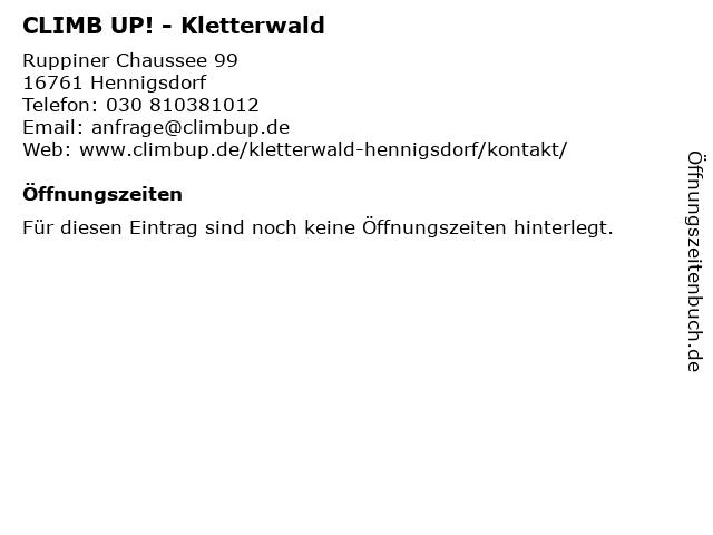 CLIMB UP! - Kletterwald in Hennigsdorf: Adresse und Öffnungszeiten