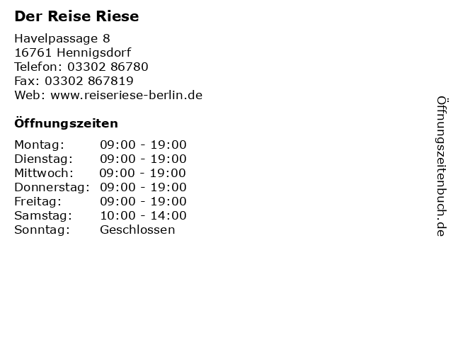 Der Reise Riese in Hennigsdorf: Adresse und Öffnungszeiten
