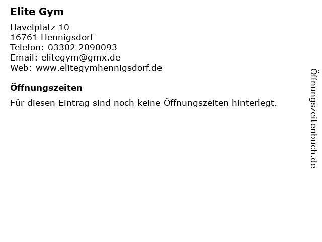 Elite Gym in Hennigsdorf: Adresse und Öffnungszeiten