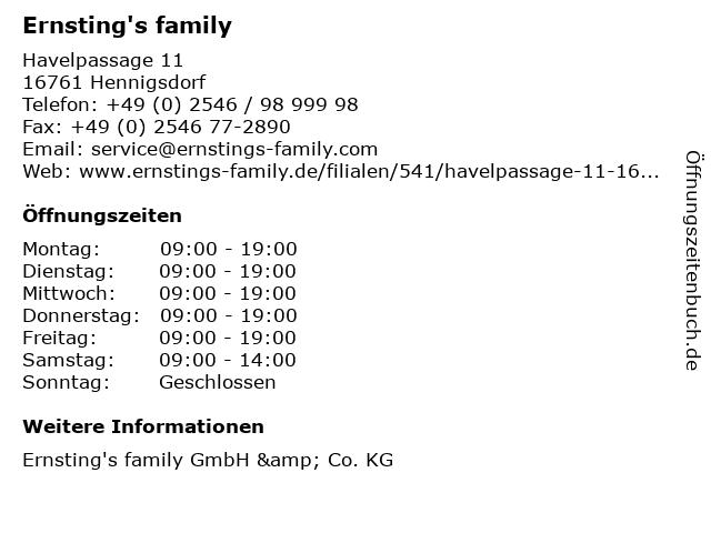 Ernsting's family in Hennigsdorf: Adresse und Öffnungszeiten