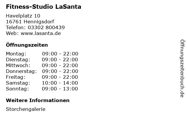 Fitness-Studio LaSanta in Hennigsdorf: Adresse und Öffnungszeiten