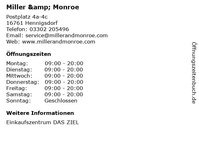 Miller & Monroe in Hennigsdorf: Adresse und Öffnungszeiten