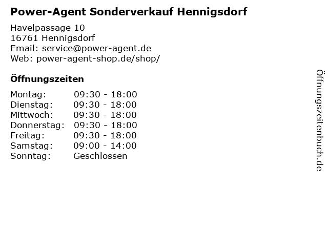 Power-Agent Sonderverkauf Hennigsdorf in Hennigsdorf: Adresse und Öffnungszeiten