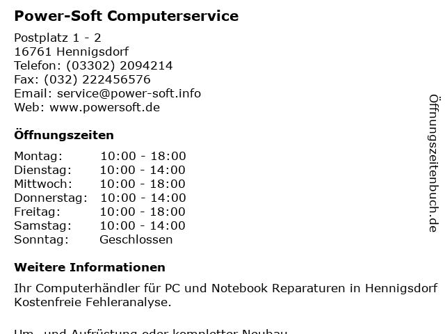 Power-Soft Computerservice in Hennigsdorf: Adresse und Öffnungszeiten