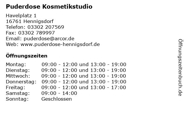 Puderdose Kosmetikstudio in Hennigsdorf: Adresse und Öffnungszeiten