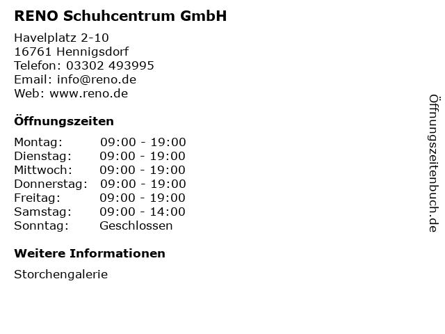 RENO Schuhcentrum GmbH in Hennigsdorf: Adresse und Öffnungszeiten