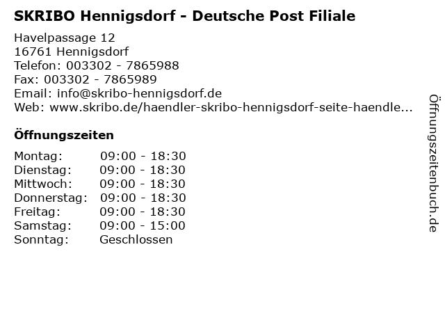 SKRIBO Hennigsdorf - Deutsche Post Filiale in Hennigsdorf: Adresse und Öffnungszeiten