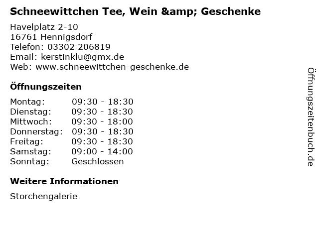 Schneewittchen Tee, Wein & Geschenke in Hennigsdorf: Adresse und Öffnungszeiten