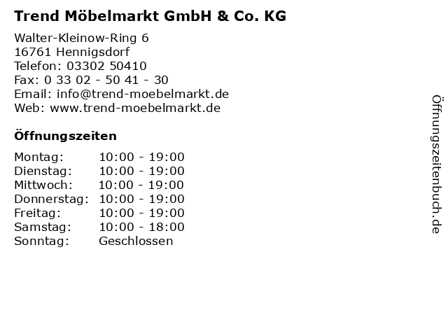 ᐅ Offnungszeiten Trend Mobel Markt Gmbh Co Kg Walter Kleinow