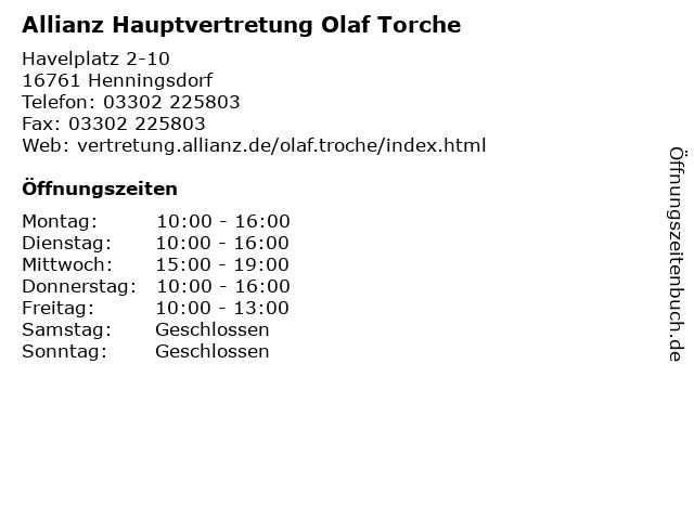 Allianz Hauptvertretung Olaf Torche in Henningsdorf: Adresse und Öffnungszeiten