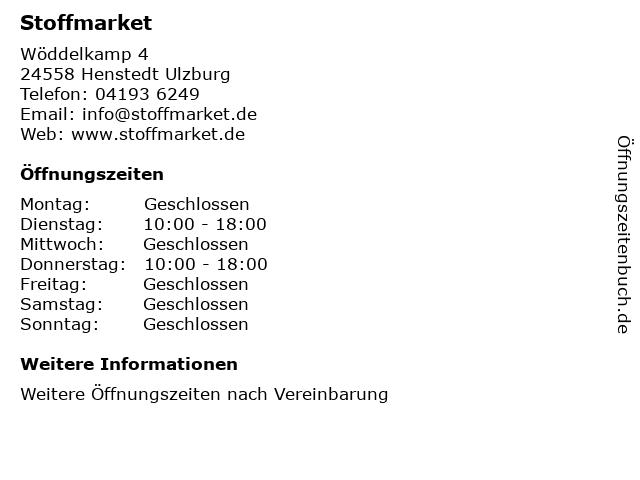 Stoffmarket in Henstedt Ulzburg: Adresse und Öffnungszeiten