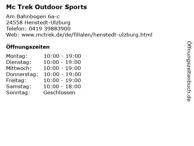 Mc Trek Outdoor Sports in Henstedt-Ulzburg: Adresse und Öffnungszeiten