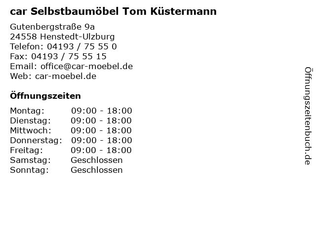 ᐅ öffnungszeiten Car Selbstbaumöbel Tom Küstermann