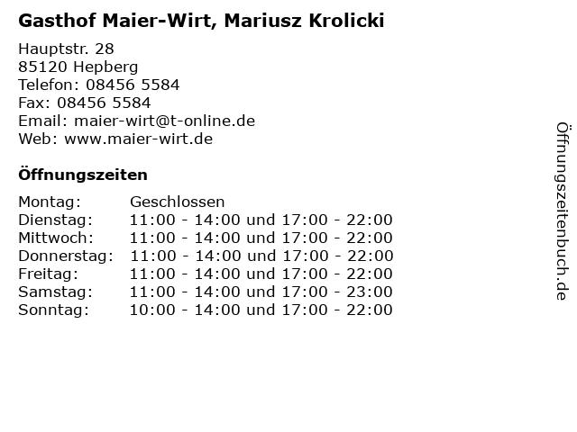 Gasthof Maier-Wirt, Mariusz Krolicki in Hepberg: Adresse und Öffnungszeiten