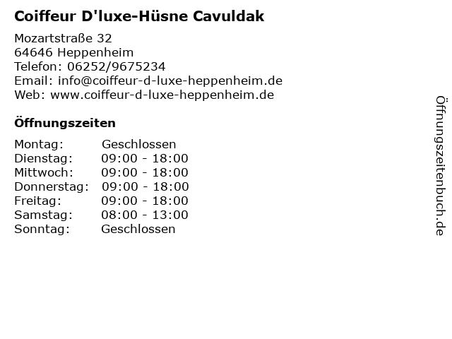 Coiffeur D'luxe-Hüsne Cavuldak in Heppenheim: Adresse und Öffnungszeiten
