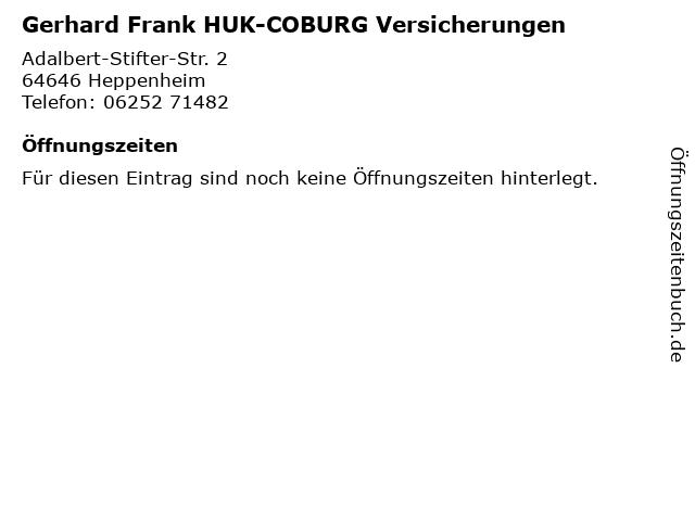 Gerhard Frank HUK-COBURG Versicherungen in Heppenheim: Adresse und Öffnungszeiten