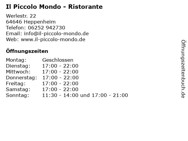 Ristorante Il Piccolo Mondo in Heppenheim: Adresse und Öffnungszeiten