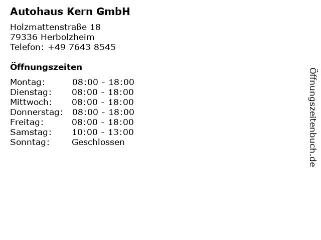 Autohaus Kern GmbH in Herbolzheim: Adresse und Öffnungszeiten