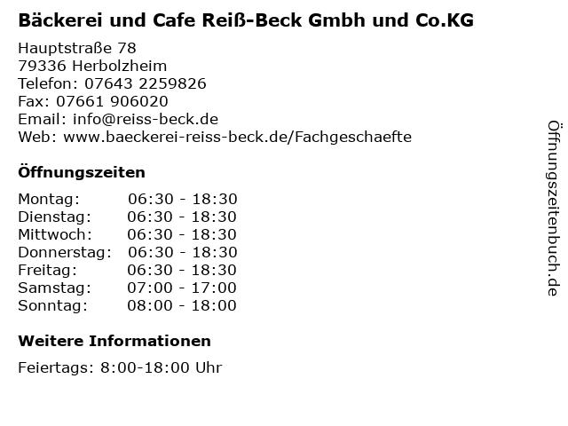 Bäckerei und Cafe Reiß-Beck Gmbh und Co.KG in Herbolzheim: Adresse und Öffnungszeiten