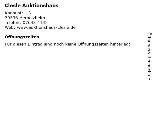 Clesle Auktionshaus in Herbolzheim: Adresse und Öffnungszeiten