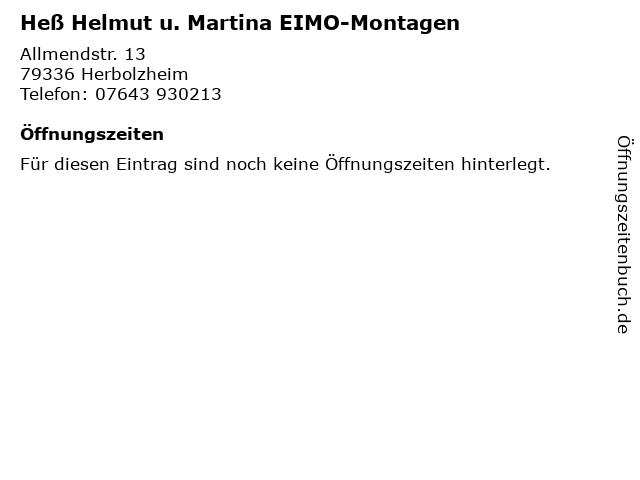 Heß Helmut u. Martina EIMO-Montagen in Herbolzheim: Adresse und Öffnungszeiten