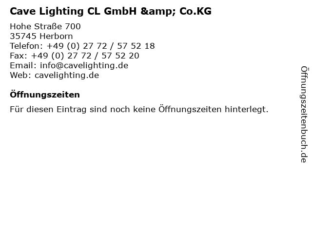 Cave Lighting CL GmbH & Co.KG in Herborn: Adresse und Öffnungszeiten