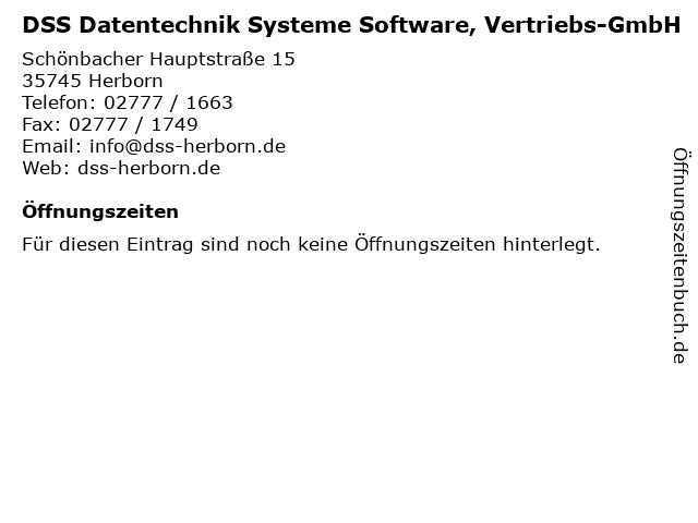 DSS Datentechnik Systeme Software, Vertriebs-GmbH in Herborn: Adresse und Öffnungszeiten