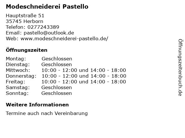 Modeschneiderei Pastello in Herborn: Adresse und Öffnungszeiten