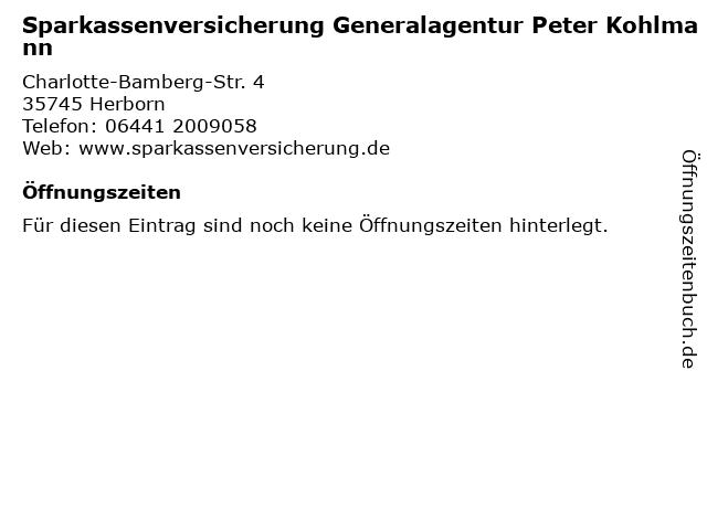 Sparkassenversicherung Generalagentur Peter Kohlmann in Herborn: Adresse und Öffnungszeiten