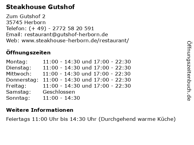 Á… Offnungszeiten Steakhouse Gutshof Zum Gutshof 2 In Herborn
