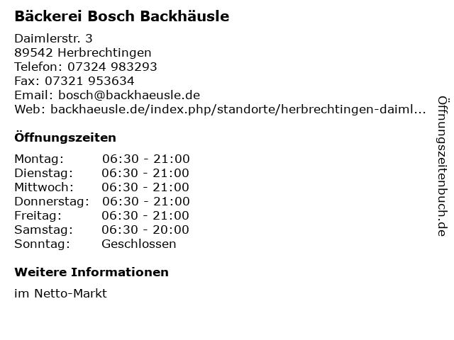 Bäckerei Bosch Backhäusle in Herbrechtingen: Adresse und Öffnungszeiten