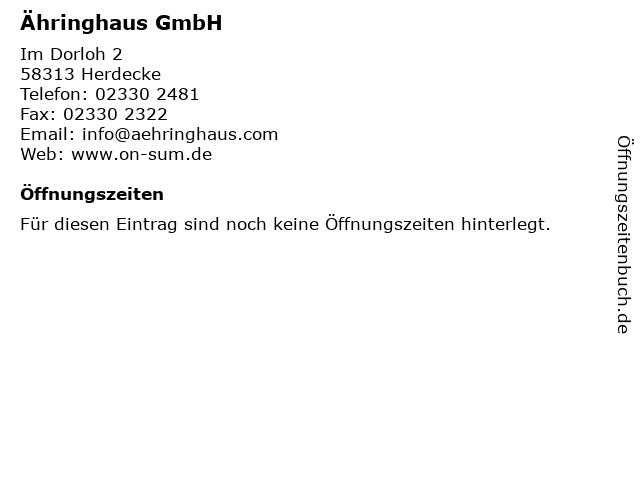 Ähringhaus GmbH in Herdecke: Adresse und Öffnungszeiten
