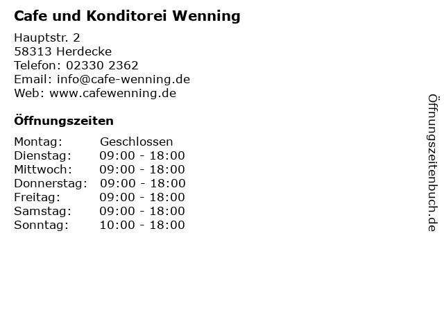 Cafe Wenning Inh. Guido Behrens in Herdecke: Adresse und Öffnungszeiten