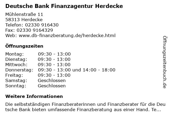 Deutsche Bank Finanzagentur Herdecke in Herdecke: Adresse und Öffnungszeiten