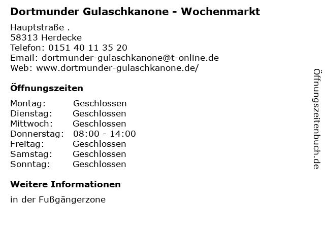 Dortmunder Gulaschkanone - Wochenmarkt in Herdecke: Adresse und Öffnungszeiten