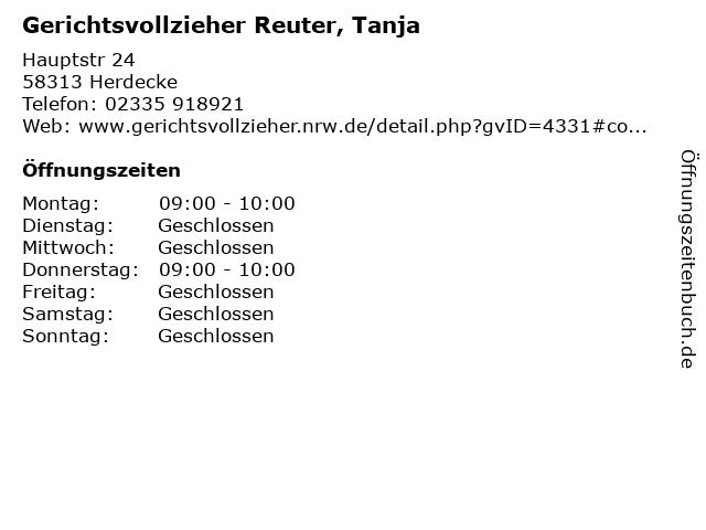 Gerichtsvollzieher Reuter, Tanja in Herdecke: Adresse und Öffnungszeiten