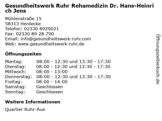 Gesundheitswerk Ruhr Rehamedizin Dr. Hans-Heinrich Jens in Herdecke: Adresse und Öffnungszeiten