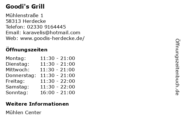 Goodi's Grill in Herdecke: Adresse und Öffnungszeiten