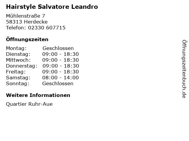 Hairstyle Salvatore Leandro in Herdecke: Adresse und Öffnungszeiten