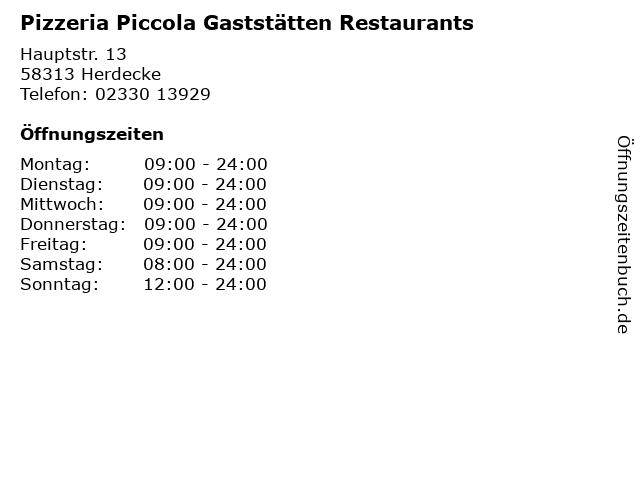 Pizzeria Piccola Gaststätten Restaurants in Herdecke: Adresse und Öffnungszeiten
