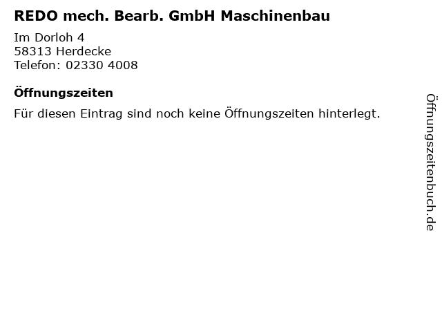 REDO mech. Bearb. GmbH Maschinenbau in Herdecke: Adresse und Öffnungszeiten
