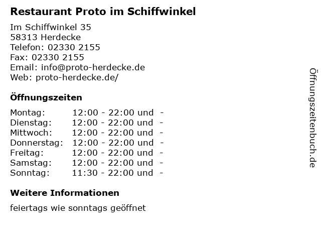 Restaurant Schiffswinkel in Herdecke: Adresse und Öffnungszeiten